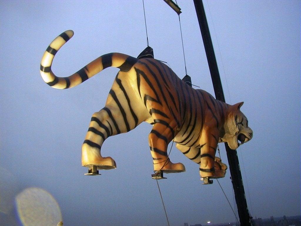 Installation des tigres au Comerica Park