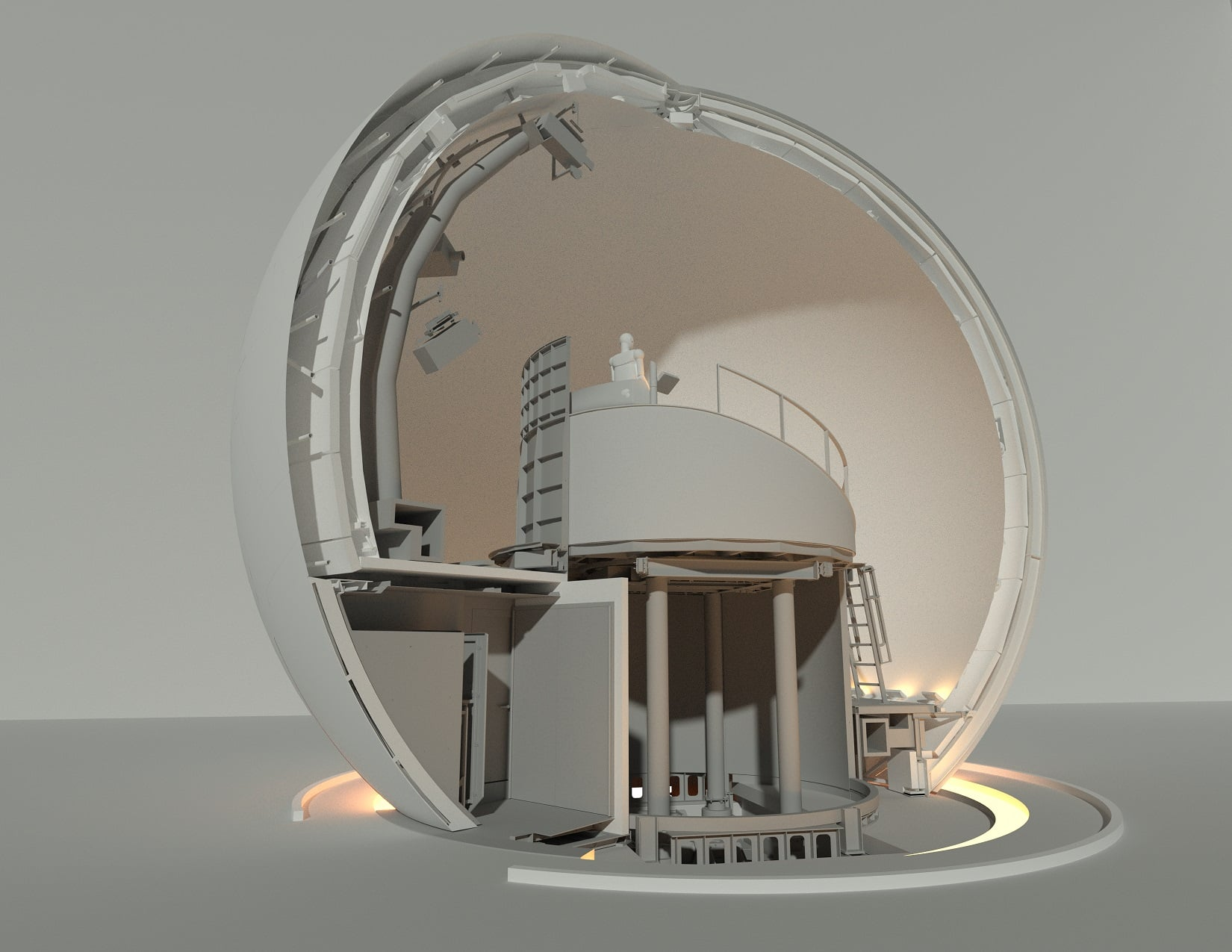 Sphère et ascenseur/table tournante - Concept