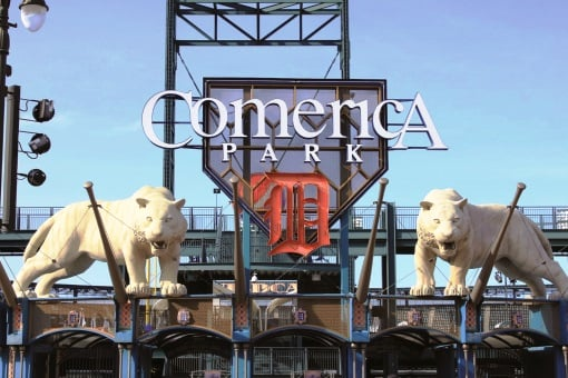 Tigers and Entrance - Comerica Park